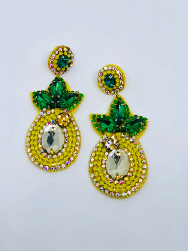 Pineapple Crystal Embellished Earrings