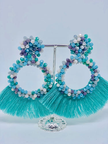Blue Mix Tassle Earrings