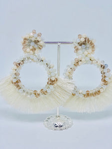 White Champagne Tassle Earrings