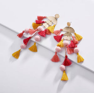 Yellow/Gold Fun Tassle Earrings