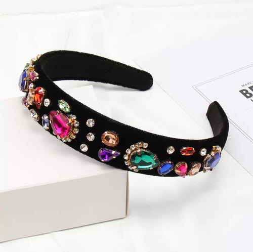 Black Velvet Crystal Headband