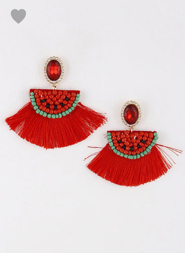Watermelon Beaded Tassle Earrings