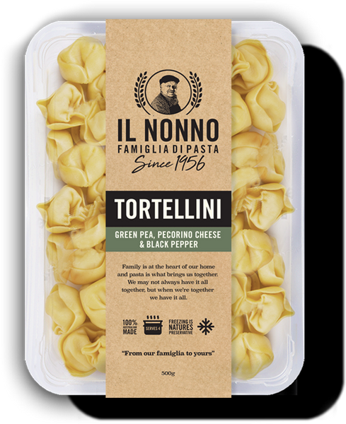 Green Pea, Pecorino Cheese & Black Pepper Tortellini Pasta 500g (frozen)