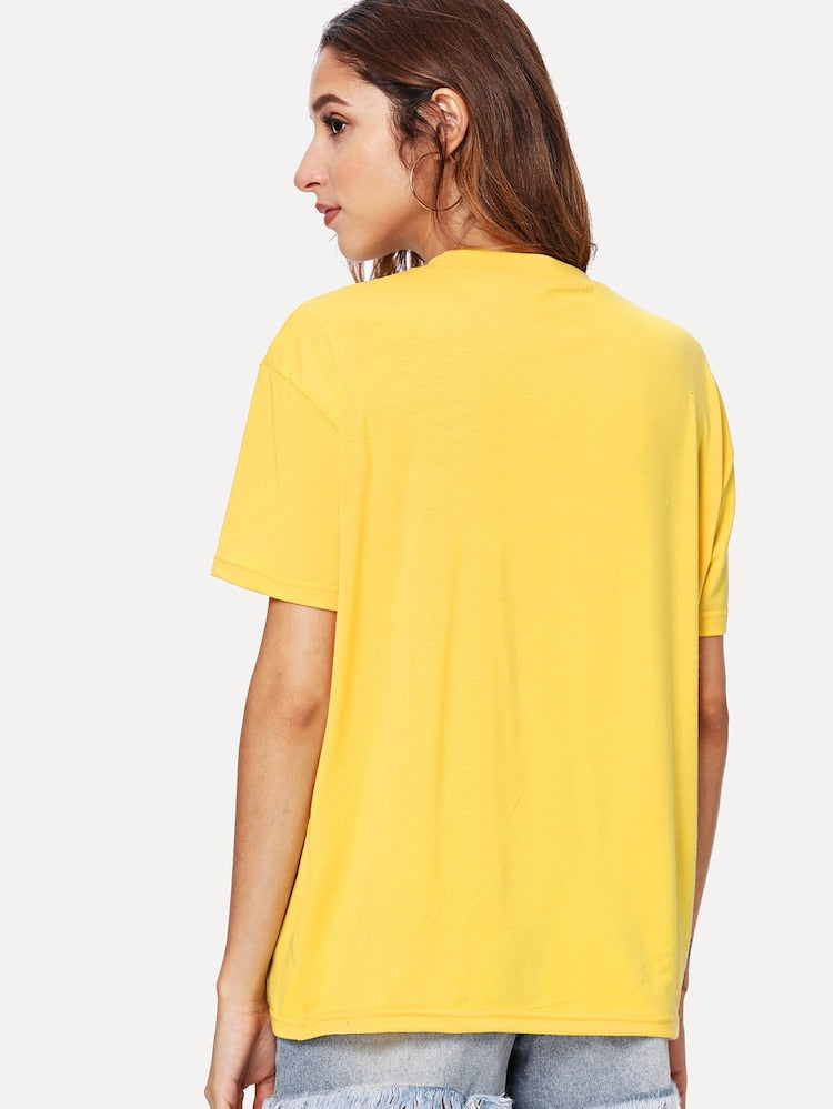 T-shirt jaune avec imprimé - Girly Day