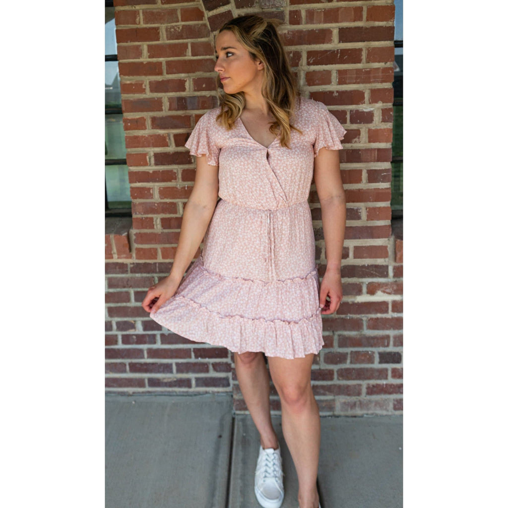 Meadow Dreams Light Pink Ruffled Floral Dress for women