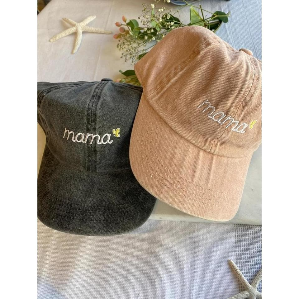 mama baseball cap with small butterfly detail. two baseball hats in vintage wash black and vintage wash pink