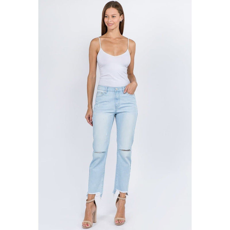 Kiss My Sass Lightwash Boyfriend Raw Hem Jeans - Fidgey Ray Boutique