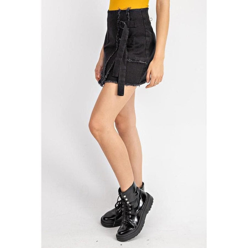 Soft Grunge Black Distressed Mini Skirt | Fidgey Ray Boutique