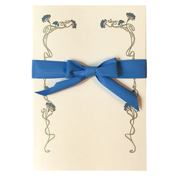Blue Art Deco Flowers Folded Cards and Envelopes