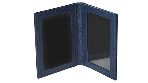Grained Leather Photo Frame - open, blue