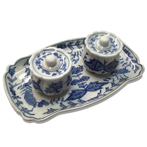 Blue Botanical Double Ceramic Inkwell