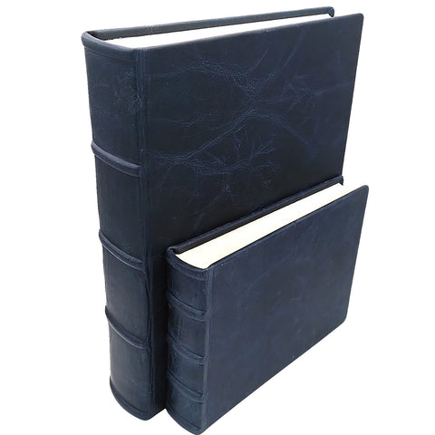 Bomo Art Leatherbound Photo Album - Large and Small in blue