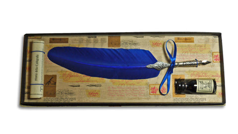 Feather Quill and Ink Set - Blue
