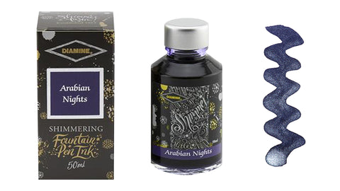 Diamine Shimmer Ink for Fountain Pens - Arabian Nights (Dark Blue and Silver)