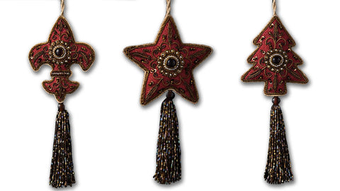Burgundy Embroidered Christmas Decoration