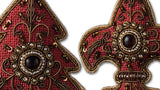 Burgundy Embroidered Christmas Decoration - close up