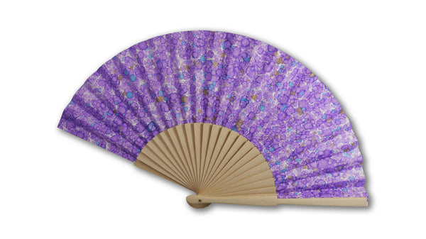 Marbled paper fan - purple spotty pattern