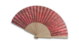 Marbled paper fan - red peacock pattern