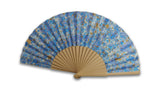 Marbled paper fan - blue spotty pattern