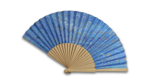 Marbled paper fan - blue peacock pattern