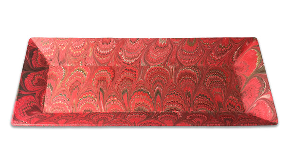 Italian Marbled Desk Tray - Red