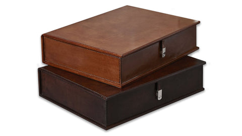 Leather Stationery Box - both colours