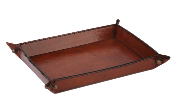Studded Leather Night Tray - Tan