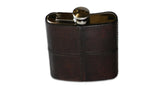 Leather and Stainless Steel Hip Flask - brown
