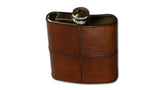 Leather and Stainless Steel Hip Flask - tan