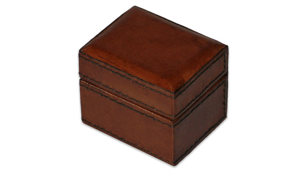 Leather Trinket Box - tan, small