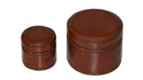 Small Round Leather Box - small and tiny in tan