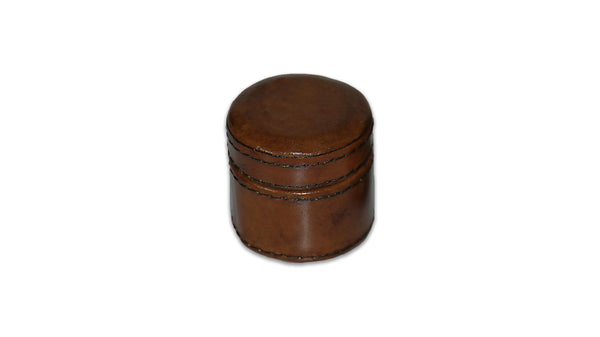 Small Round Leather Box - tiny, tan