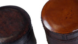 Small Round Leather Box - close-up