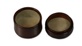 Small Round Leather Box - open