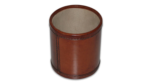 Round leather pen pot