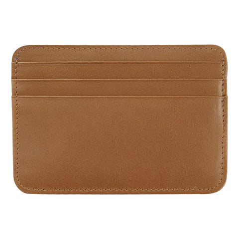 Leather Credit Card Holder - 7 Slots - Tan