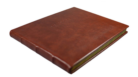 Italian Leather Visitors Book - Handmade