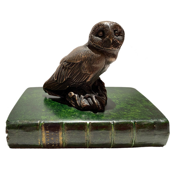 Owl Paperweight on Green Book Base