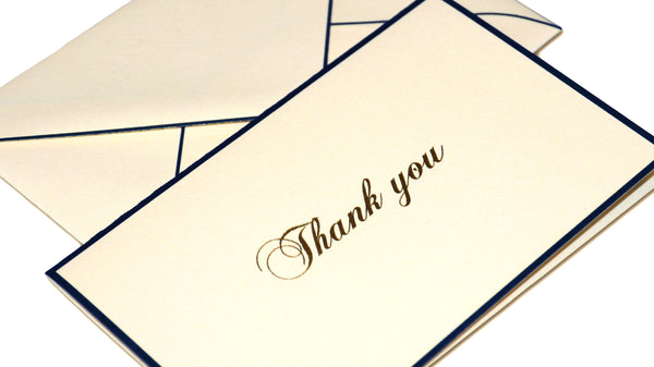 Bordered Thank You Cards - Blue Border