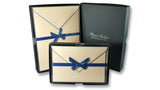 Bordered Cotton Writing Paper & Folded Cards - Blue