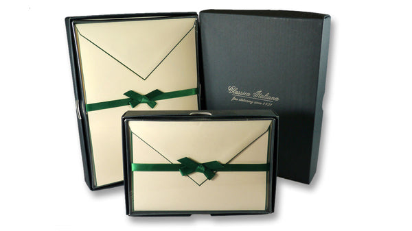 Bordered Cotton Writing Paper & Folded Cards - Green