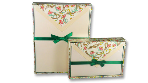 Bordered Writing Paper with Art Nouveau Floral Envelopes