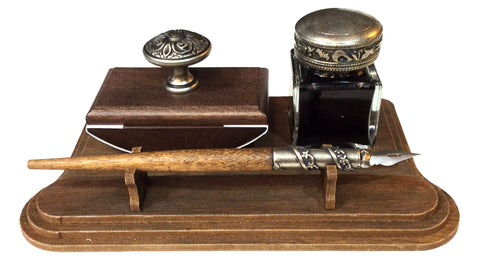 Wood and Pewter Desk Set