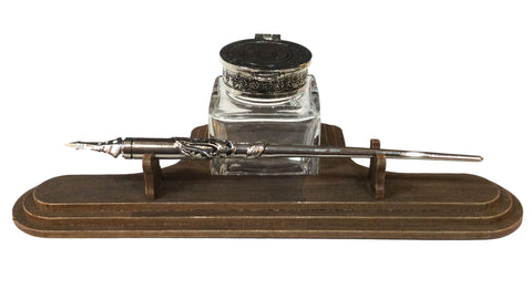 Pewter & Glass Inkwell with Pewter Dip Pen
