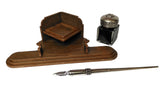 Corner Desk Set with Inkwell and Dip Pen