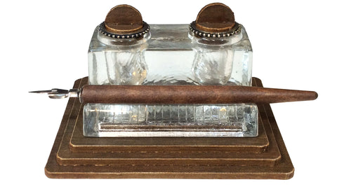Double Glass Inkwell with Dip Pen
