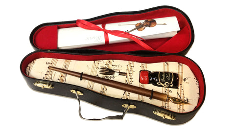 Violin Case Music Dip Pen Set