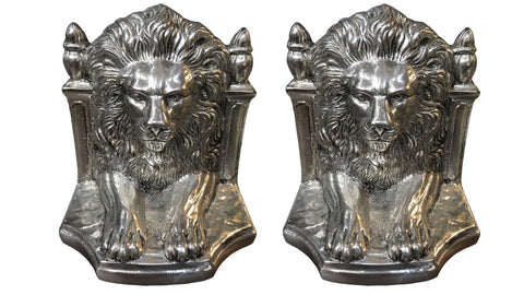 Silver Plated Lion Bookends