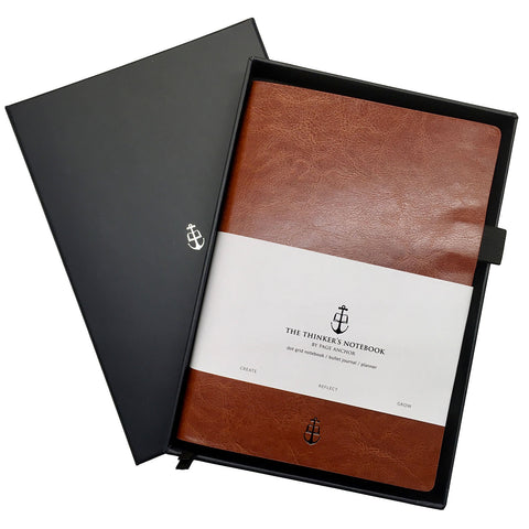 a chestnut thinker's notebook displayed in its black presentation box
