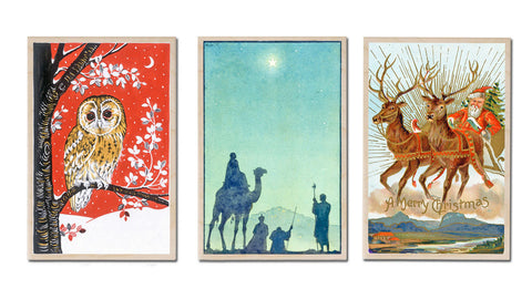 Wooden Christmas Postcards - Owl, Wise Men, Santa & Reindeer